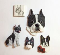 5 VINTAGE BOSTON TERRIER MAGNETS CERAMIC WOOD CLAY COMPOSITE