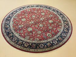 8andrsquo X 8andrsquo Red Navy Blue Round Traditional Hand Knotted Fine Oriental Rug Wool