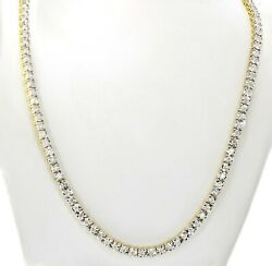 Mens 10k Yellow Gold Tennis Chain With 4.5ctw Diamonds 18 Long And 4mm Wide