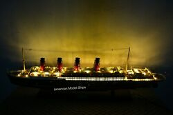 Rms Lusitania Cunard With Lights Cruise Ship Model 39″ Handcrafted Wooden Model