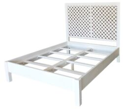85 Ivano Queen Bed White Paint Carved Pattern Headboard Solid Acacia Wood