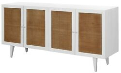 70 L Santina Sideboard White Hardwood Cabinetry With Natural Rattan Door Panels