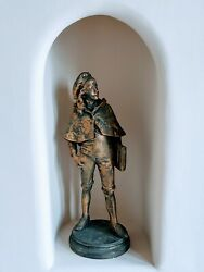Jeanne Itasse French Schoolboy With Satchel Metal Sculpture Approx 22h Vintage