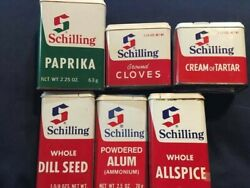 Lot Of 6 Schilling Spice Tins