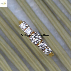 14k Yellow Gold Band Ring Vs-1 Vs-2 Clarity Pave Diamond Jewelry Stacking Ring