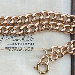 Edwardian 9ct 9k 375 Rose Gold Double Curb Link Bracelet With Bolt Ring Clasp