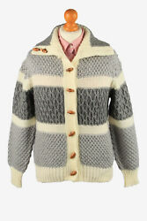 Womens Knit Cable Cardigan Button Up Warm Retro Grey S-il2191