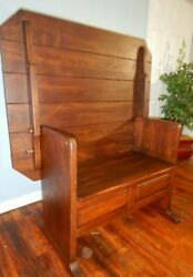 Vintage Arts And Crafts Mission Oak Bench Table Hall Seat Dining Table
