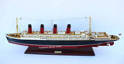 Rms Lusitania Cunard Line Ocean Liner Handcrafted Wooden Ship Model 40