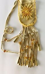 Medicine Bag Necklace Native American Indian Style Pouch Hand Made Beaded Sun