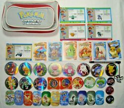 Pokemon Rare Lot Of Metal Tags, Pogs, Cards, Pencil Case And Touch Screen Pen