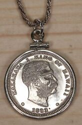 Hawaii Silver Coin Re-strike Medal Pendant-necklace X049b
