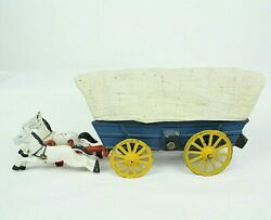 Vtg Cast Iron Old West Blue Covered Wagon Yellow Wheels Horses Collectible Toy