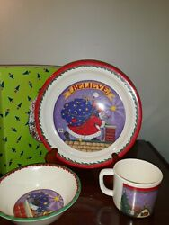 1994 Mary Engelbreit Babys First Christmas Melamine Cup Plate And Bowl Set...