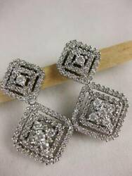 Large Pave Diamond 14k White Gold Hanging Square Cluster Earrings 28m Egc54wqnns