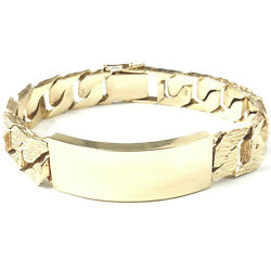 9ct Gold Heavy Bracelet Identity Menand039s Solid Yellow Barked Square Link 81.9g 8