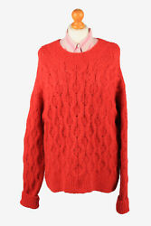 Womens Cable Jumper Chunky Pullover Warm Retro 90s Red L-il2207