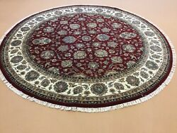 7andrsquo.8andrdquo X 7andrsquo.8andrdquo Red Beige Fine Round Floral Hand Knotted Oriental Rug Wool Foyer