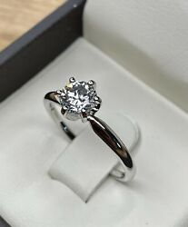 0.71 Carat H/si1 Gia Solitaire Round Brilliant Diamond Engagement Ring 14k Gold