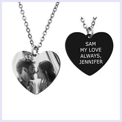 Heart Tag Personalized Photo and Message Engraving Custom Pendant Chain Necklace $19.98
