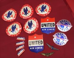 Vintage Lot Airlines Luggage Decals Pins Wings American United Braniff Air Mail