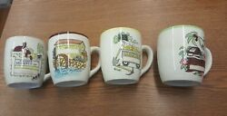 Vtg Lot Set Of 4 Property Of Coffee Mug Cup Farm Rooster Mine Mill K23