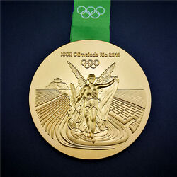 New 2016 Rio De Olympic Souvenir Gold Medal With Commemorative Ribbon Gift Hot