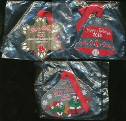 2015 2016 2017 Boston Red Sox Season Ticket Holder Holiday Ornaments 3 Count Lot
