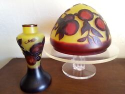 Galle Glass Lamp Marked Uics Green Red Orange Apple Chartreuse Base Shade Parts