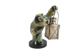 1940s Limited Edition Numbered 1 Glass Porcelain Dog Table Lamp Light Frutuoso