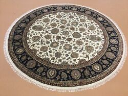 7andrsquo.7andrdquo X 7andrsquo.7andrdquo Beige Navy Blue Round Fine Hand Knotted Oriental Rug Wool Foyer