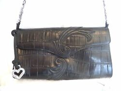 Brighton Black Croc Embossed Leather Silver Clutch Crossbody Shoulder Bag $29.99