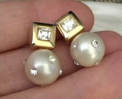 Vintage Jewellery Beautiful Pair Of Faux Pearl And Sparkling Crystal Earrings