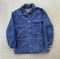 VTG 70s 80s Men#x27;s Blanket Lined Denim Jean Work Chore Coat Jacket Shell Gas XL