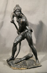 Native American Indian Figure Last Of The Mohicans Metal Sculpture Black Patina