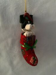 1980#x27;s Handcrafted BORDER COLLIE Christmas Ornament Stocking