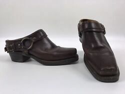Vintage Fry Womens Ankle Harness Boots Slides Booties Brown Leather Size 8.5 M