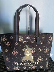 NWT Coach X Disney Tote Bag with Rose Bouquet Print and Thumper 91116 $189.00