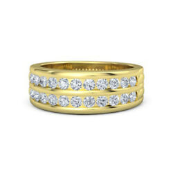 0.66 Ct Real Diamond Wedding Ring Solid 14k Yellow Gold Mens Band Size 11 10 12
