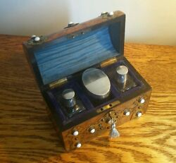 Gorgeous Victorian Walnut Perfume Box Brass Mounts And 3 Silver Top Bottles C.1870