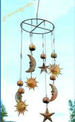 Sun Moon And Stars Celestial Hanging Mobile Chime Wind Catcher Patina Copper