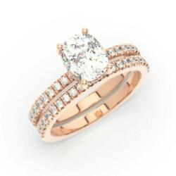 2.00 Ctw Lab Grown Diamond Ring And Band Color F Clarity Si1 Cushion 14k White
