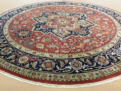 8andrsquo X 8andrsquo Rust Navy Blue Fine Geometric Round Hand Knotted Oriental Rug Wool Foyer