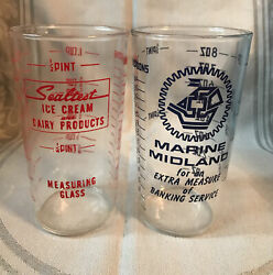 Sealtest Ice Cream Dairy Products And Marine Midland Measuring Fountain Glasses