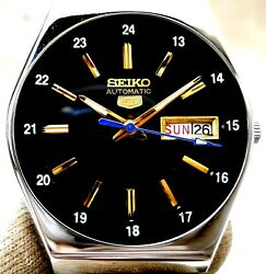 Vintage Japan Seiko Automatic Black.. 24 Hours Railway Time Day Date Mens Watch