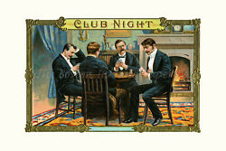 Poker Room Playing Cards Gambling Victorian Antique Home Wall Decor Art Print