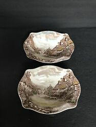 2 Johnson Brother Old English Countryside Oval Serving Bowl, Brown Transferware