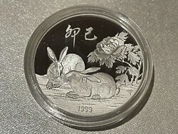 1999 Taiwan Zodiac Rabbit Silver Medal 1oz Original Case Coa Limited Edition New