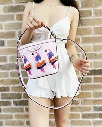 Kate Spade Flock Party Parrot Pippa Small Bucket Bag Embellished Leather $99.00