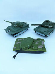 3 Vintage Toy Tanks 3 For Army Guys Metal And Plastic